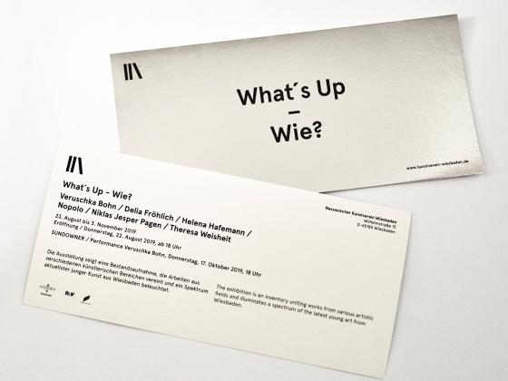 Nassauischer Kunstverein Wiesbaden, Flyer What's Up - Wie?, Foto: Vincent Riese, 2019