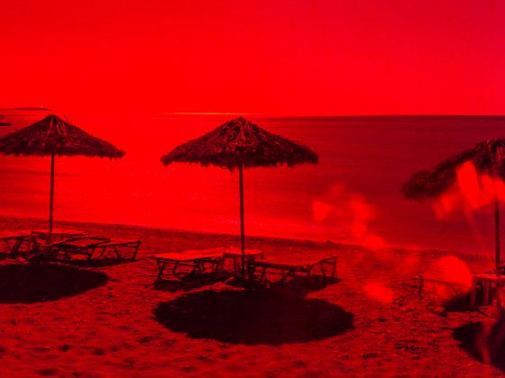 beach scenery in red light