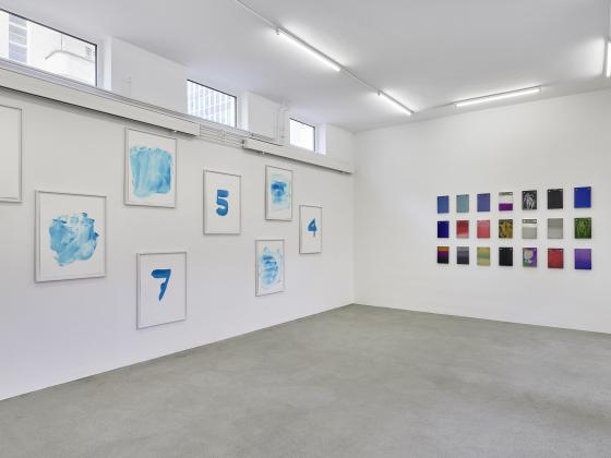 Installation view with works by Renée Levi and Raphael Hefti