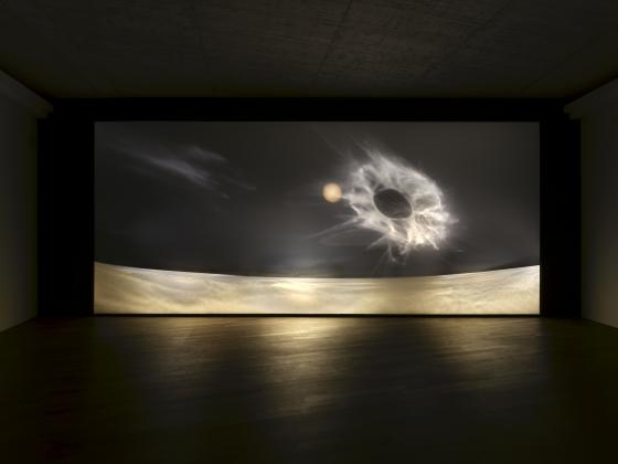 Second Planet, 2021, installation, light and shadow on projection foil