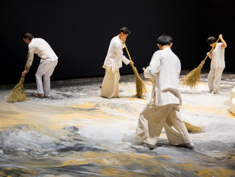 Lee Mingwei, Guernica in Sand, 2006–present. Mixed media interactive installation, Sand, wooden island, lighting, 1300 x 643 cm Installation view Lee Mingwei and His Relations, Taipei Fine Arts Museum, 2015