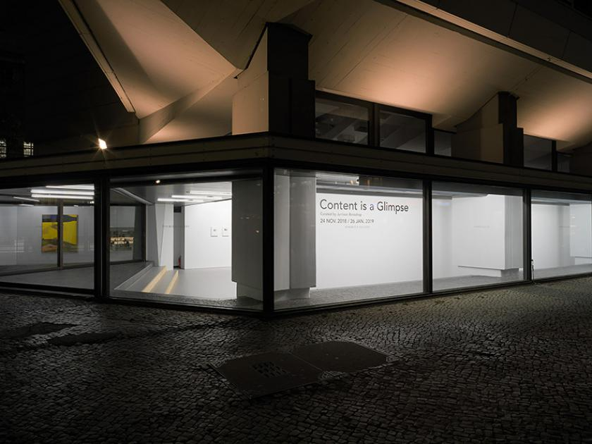 Outside image of Efremidis Gallery during the group exhibition Content is a Glimpse in December 201-