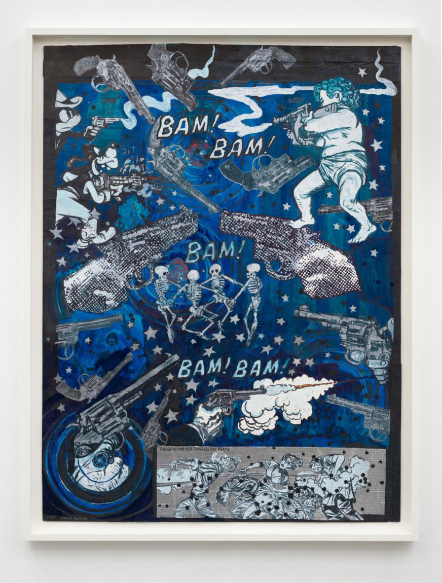 "Marcel Dzama ""Bam bam bam bam bam. or Thank you for your Thoughts and Prayers"", 2019"