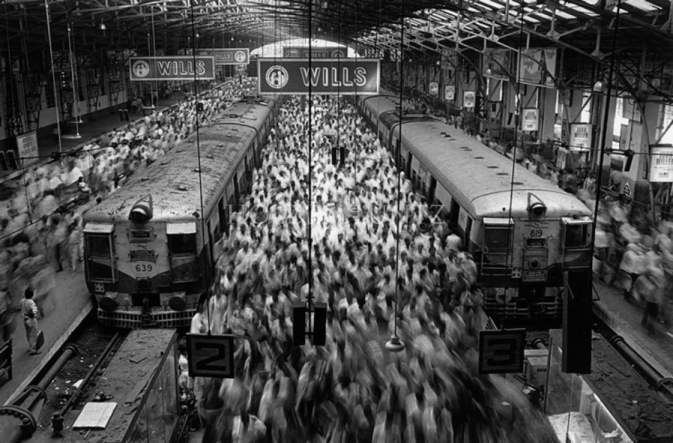 "Sebastião Salgado ""Church Gate Station Western Railroad Line Bombay, India 1995"""