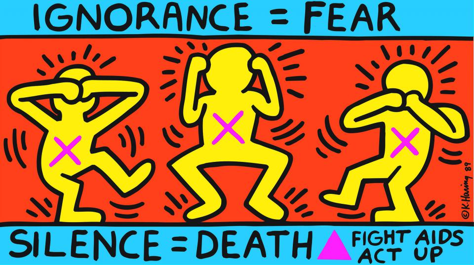 "Keith Haring ""Ignorance = Fear, Silence = Death"", 1989"