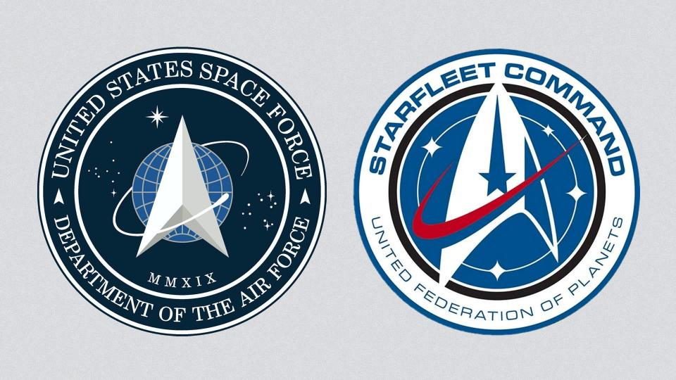 "Space-Force-Emblem und ""Star Trek""-Logo"