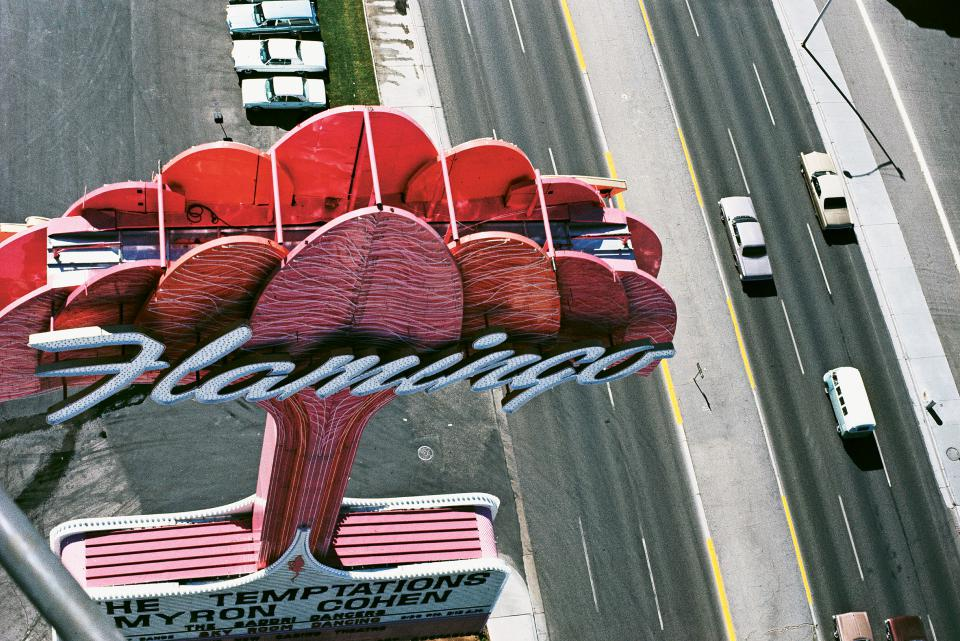 "Learning from Las Vegas Research Studio. The ""Flamingo"" sign seen from a helicopter, Las Vegas, NV,1968. From Las Vegas Studio: Images from the Archives of Robert Venturi and Denise Scott Brown (2009)"