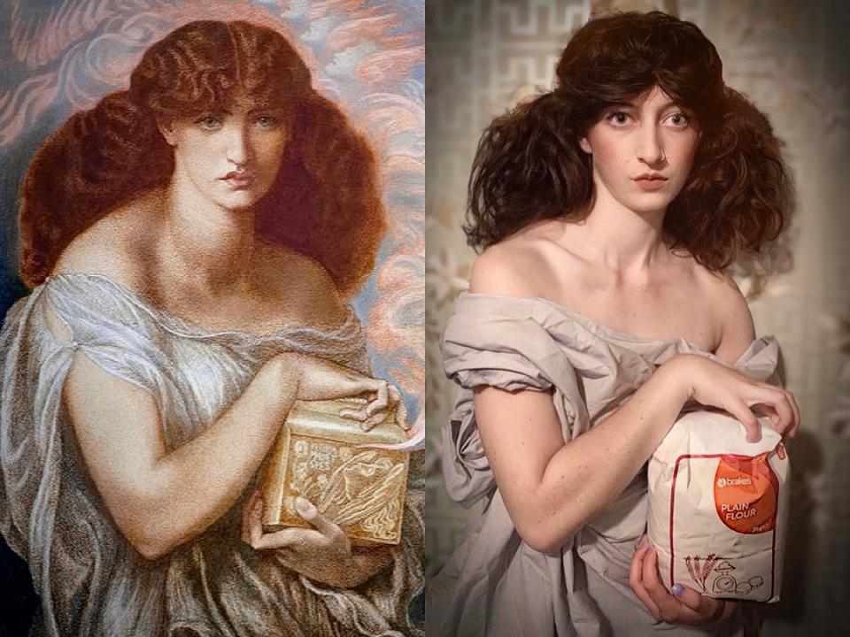 "Dante Gabriel Rossetti ""Pandora"", 1879; Re-creation: Isabella Beatrix Thompson / @Bellatrix94"