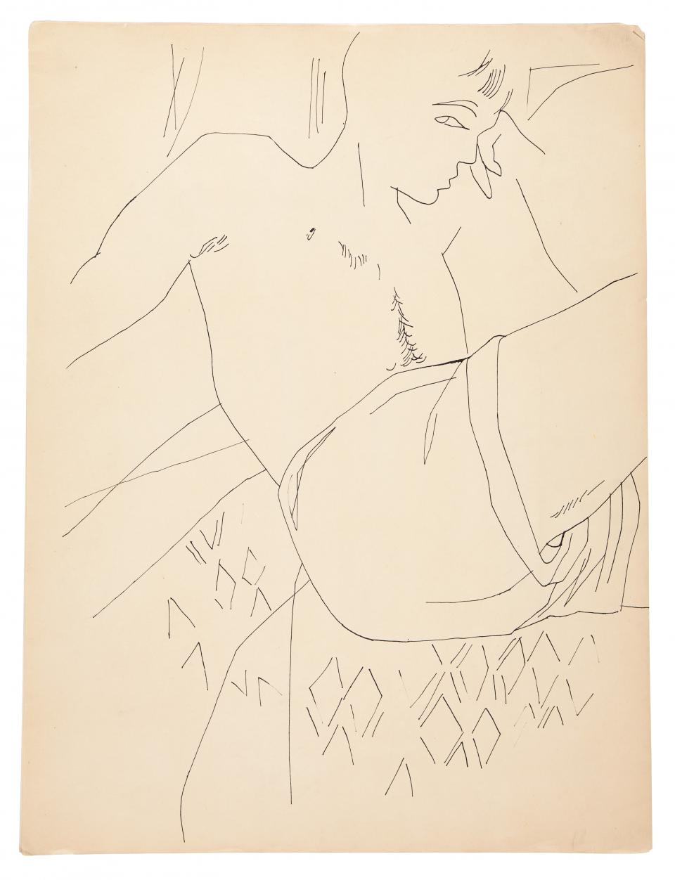 "Andy Warhol ""Male Partial Figure (verso)"", 1954"