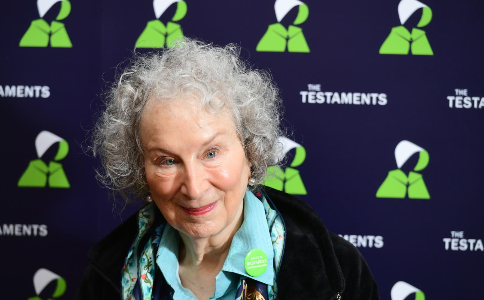 Margaret Atwood auf einer Pressekonferenz in der British Library in London