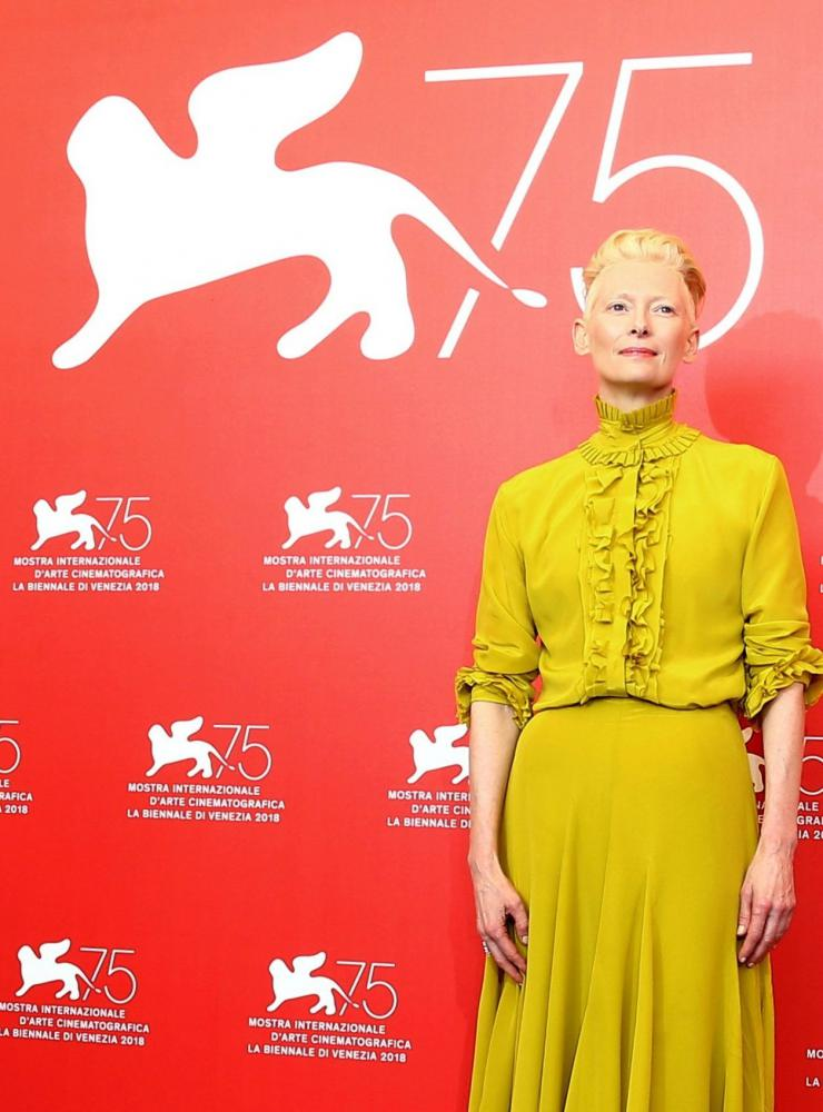US-Schauspielerin Tilda Swinton 2018 beim 75. Internationalen Filmfestival in Venedig