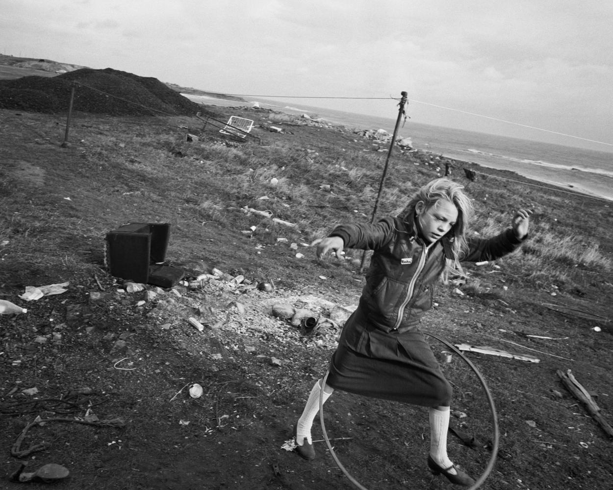 "Chris Killip ""Helen and her hula-hoop, Lynemouth, Northumberland"""